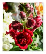 Dark Red Fancy Snapdragon Fleece Blanket