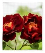 Dark Red Roses Fleece Blanket