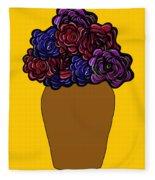 Dark Rose Folk Art Fleece Blanket