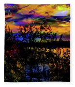 Dark Shadowy Sunset Fleece Blanket