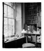 Darwins Study And Microscope, Down House Fleece Blanket