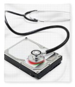 Data Recovery Stethoscope And Hard Drive Disc Fleece Blanket