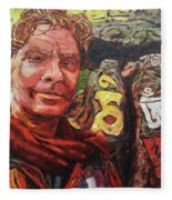 Dave Alber Self-portrait At Swayambunath, Kathmandu, Nepal Fleece Blanket