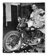 Dave On A Harley Tulare Raiders Mc Hollister Calif. July 4 1947 Fleece Blanket