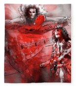 David Lee Roth And Eddie Van Halen Jump Fleece Blanket