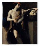 David With The Head Of Goliath 1606 Fleece Blanket