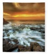 Dawn At Porthcawl Fleece Blanket