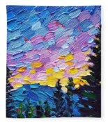 Dawn Behind The Mountains Fleece Blanket