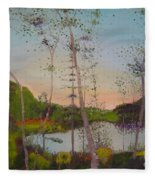 Dawn By The Pond Fleece Blanket