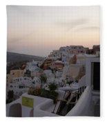 Dawn In Oia Santorini Greece Fleece Blanket
