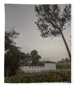 Dawn Moon Over Chinese Garden Singapore Fleece Blanket