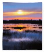 Dawn Over The Salt Marsh Fleece Blanket
