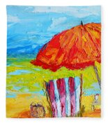 Day At The Beach - Modern Impressionist Knife Palette Oil Painting Fleece Blanket