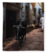 Day In Varanasi Fleece Blanket