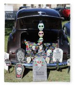 Day Of The Dead Classic Car Trunk Display  Fleece Blanket