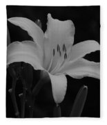 Daylily In Black And White Fleece Blanket