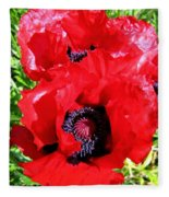 Dazzling Red Poppies Fleece Blanket