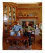 Db6362 Ed Cooper With Fred Beckey In Library 2013 Fleece Blanket