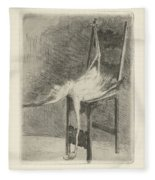 Dead Flamingo With The Legs Tied To The Handrail Of A Chair, Adriaan Pit, 1870 - 1896 Fleece Blanket