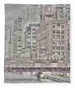 Dearborn Street Bridge Fleece Blanket