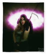 Death Carrying Scythe Fleece Blanket