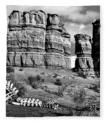 Death On Notom-bullfrog Road - Capitol Reef - Bw Fleece Blanket