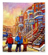 Debullion Street Winter Walk Fleece Blanket