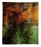 Decadent Urban Brick Green Orange Grunge Abstract Fleece Blanket