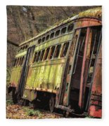 Decaying Trolley Cars Fleece Blanket