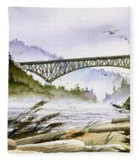 Deception Pass Bridge Fleece Blanket