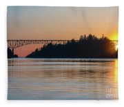 Deception Pass Bridge Sunset Sunstar Fleece Blanket