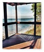 Deck With Ocean View Fleece Blanket