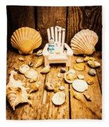 Deckchairs And Seashells Fleece Blanket