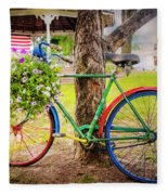 Decorated Bicycle In The Park Fleece Blanket