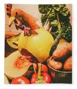 Decorated Organic Vegetables Fleece Blanket