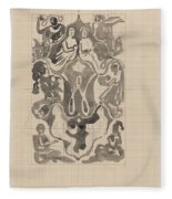 Decorative Design With Crowned W Surrounded By Persons, Carel Adolph Lion Cachet, 1874 - 1945 Fleece Blanket