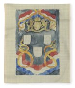 Decorative Design With The National Coat Of Arms, Flags And Banners, Carel Adolph Lion Cachet, 1874  Fleece Blanket