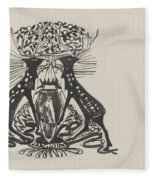 Decorative Design With Two Standing Deer, Carel Adolph Lion Cachet, 1874 - 1945 Fleece Blanket