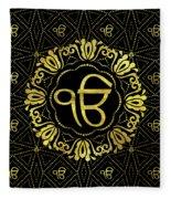 Decorative Gold Ek Onkar / Ik Onkar  Symbol Fleece Blanket