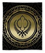 Decorative Khanda Symbol Gold On Black Fleece Blanket