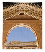 Decorative Moorish Architecture In The Nasrid Palaces At The Alhambra Granada Spain Fleece Blanket