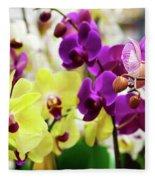 Decorative Orchids Still Life C82418 Fleece Blanket by Mas Art Studio