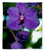 Deep Blue Orchid Fleece Blanket