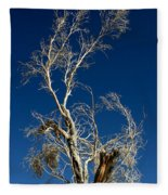 Deep Blue White Tree Fleece Blanket