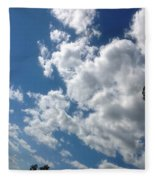 Deep Blue With Lovely Clouds Fleece Blanket