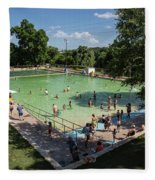 Deep Eddy Pool Is A Family Friendly, Family Fun, Public Swimming Pool In Austin, Texas Fleece Blanket
