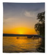 Deep Orange Sunset Over Keuka Lake Fleece Blanket