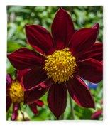 Deep Red And Yellow Flowers Fleece Blanket