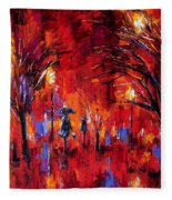 Deep Red Fleece Blanket