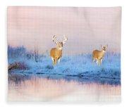 Deer At Winter Pond Fleece Blanket